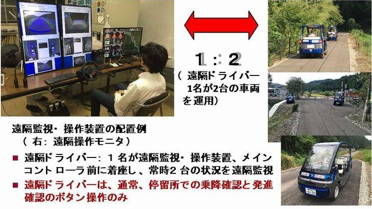 世界初、1人で2台の自動運転車を遠隔操作・監視