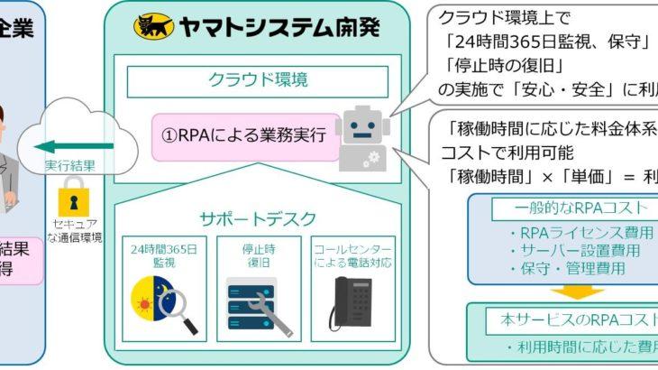 ヤマトシステム開発、クラウドベースのRPAサービス開始へ