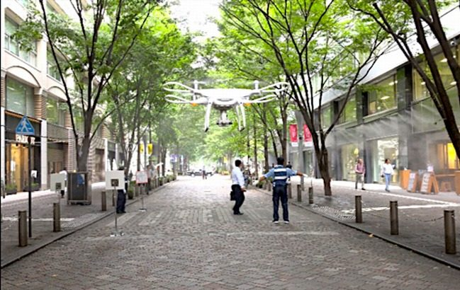 テラドローンと三菱地所、東京・丸の内の高層ビル街でドローン自律飛行実験