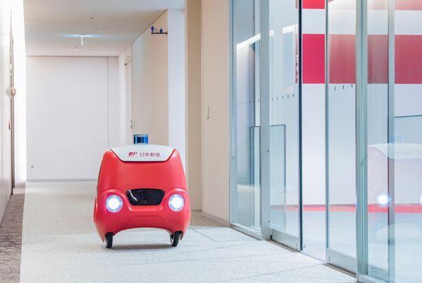 日本郵便、東京・大手町の本社内でロボット配送のトライアル実施