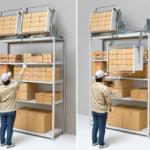 【動画】踏み台に乗らず上部の荷物を引き下ろせる倉庫向け昇降棚を開発
