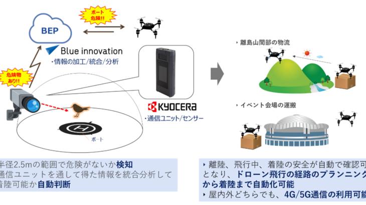 ブルーイノベーションと京セラ、5G活用しドローン物流の安全着陸支援
