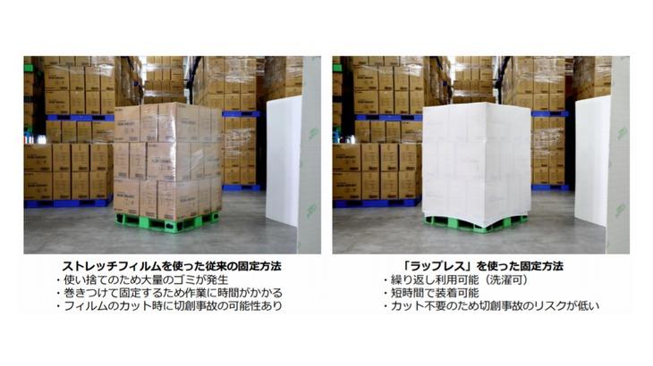 【動画】ミドリ安全、繰り返し使える荷崩れ防止カバー「ラップレス」発売