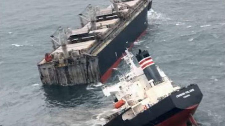 青森・八戸の船舶事故、分断された船尾部からの油抜き取りが終了