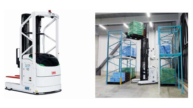 三菱ロジスネクスト、レーザー誘導方式無人フォークリフト「プラッターオート H タイプ」を発売