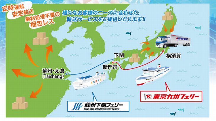 SHKライングループ、横須賀~下関~中国・太倉を5日間でフェリー輸送
